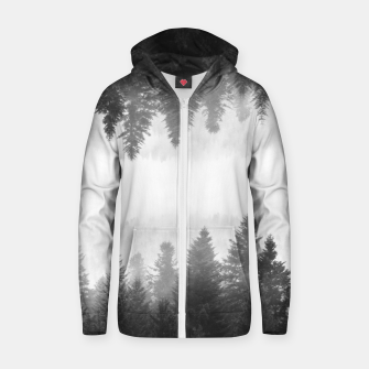 Thumbnail image of Black and white foggy mirrored forest Zip up hoodie, Live Heroes