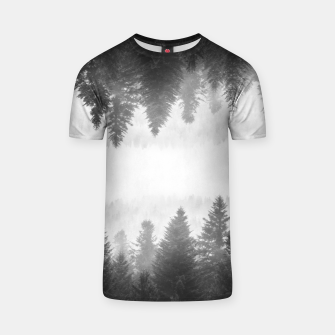 Thumbnail image of Black and white foggy mirrored forest T-shirt, Live Heroes