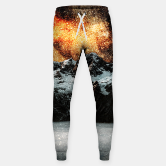 Thumbnail image of Burning galaxy above majestic mountains Sweatpants, Live Heroes
