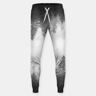 Thumbnail image of Black and white foggy mirrored forest Sweatpants, Live Heroes