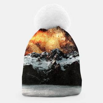 Thumbnail image of Burning galaxy above majestic mountains Beanie, Live Heroes