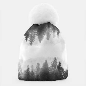 Thumbnail image of Black and white foggy mirrored forest Beanie, Live Heroes