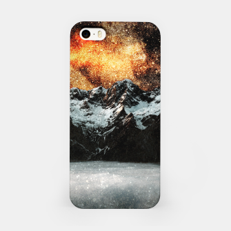 Thumbnail image of Burning galaxy above majestic mountains iPhone Case, Live Heroes