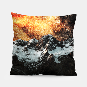 Thumbnail image of Burning galaxy above majestic mountains Pillow, Live Heroes