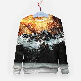 Thumbnail image of Burning galaxy above majestic mountains Kid's sweater, Live Heroes