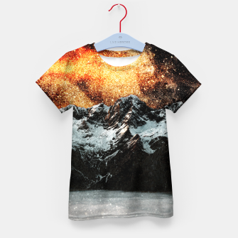 Thumbnail image of Burning galaxy above majestic mountains Kid's t-shirt, Live Heroes