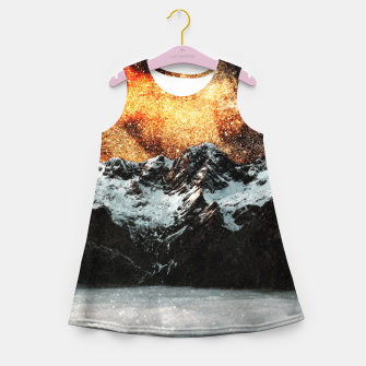 Thumbnail image of Burning galaxy above majestic mountains Girl's summer dress, Live Heroes