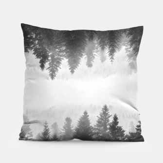 Thumbnail image of Black and white foggy mirrored forest Pillow, Live Heroes