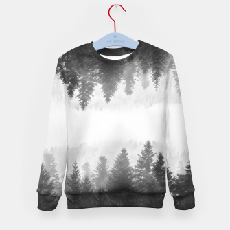 Thumbnail image of Black and white foggy mirrored forest Kid's sweater, Live Heroes