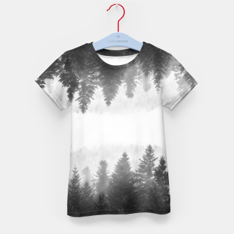 Thumbnail image of Black and white foggy mirrored forest Kid's t-shirt, Live Heroes