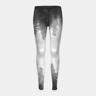 Thumbnail image of Black and white foggy mirrored forest Girl's leggings, Live Heroes