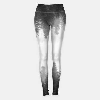 Thumbnail image of Black and white foggy mirrored forest Leggings, Live Heroes