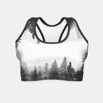 Thumbnail image of Black and white foggy mirrored forest Crop Top, Live Heroes