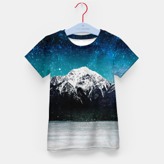 Thumbnail image of Dreamy galaxy mountain above the clouds Kid's t-shirt, Live Heroes