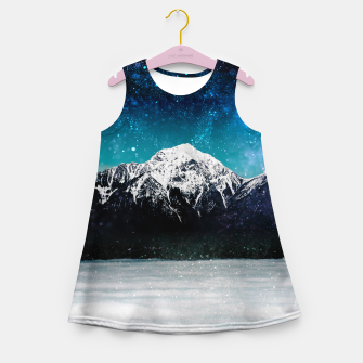 Miniaturka Dreamy galaxy mountain above the clouds Girl's summer dress, Live Heroes