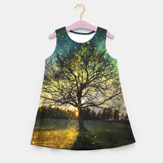 Miniaturka Magical fireflies dreamy landscape Girl's summer dress, Live Heroes