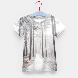Thumbnail image of Mysterious road in a frozen foggy forest Kid's t-shirt, Live Heroes