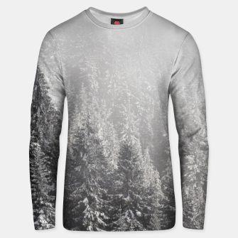 Miniature de image de Snowy spruce forest wrapped in fog Unisex sweater, Live Heroes