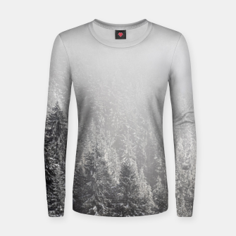 Miniature de image de Snowy spruce forest wrapped in fog Women sweater, Live Heroes