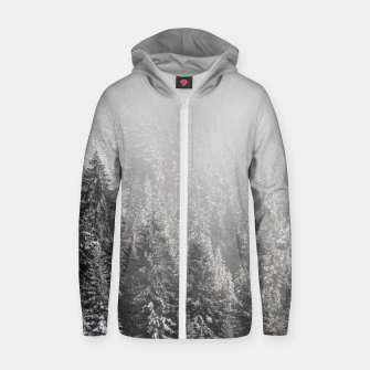 Miniature de image de Snowy spruce forest wrapped in fog Zip up hoodie, Live Heroes