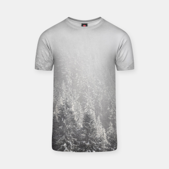 Miniature de image de Snowy spruce forest wrapped in fog T-shirt, Live Heroes