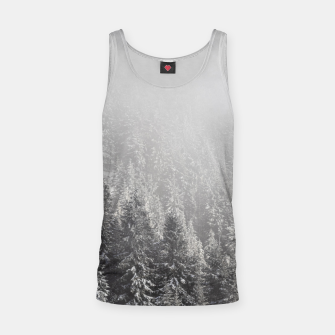 Miniature de image de Snowy spruce forest wrapped in fog Tank Top, Live Heroes