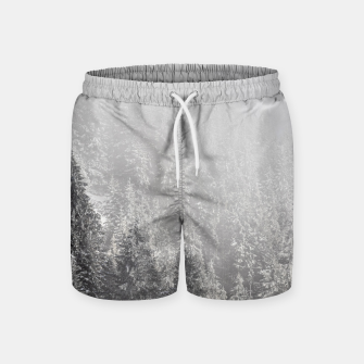 Miniature de image de Snowy spruce forest wrapped in fog Swim Shorts, Live Heroes