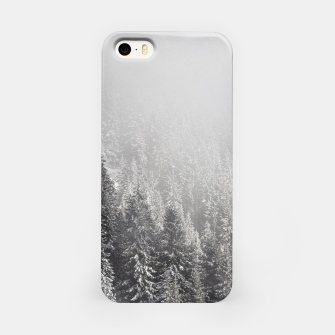 Miniature de image de Snowy spruce forest wrapped in fog iPhone Case, Live Heroes