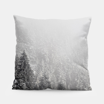 Miniature de image de Snowy spruce forest wrapped in fog Pillow, Live Heroes