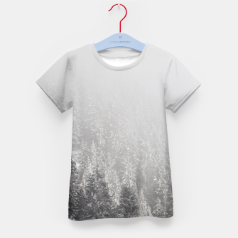 Thumbnail image of Snowy spruce forest wrapped in fog Kid's t-shirt, Live Heroes