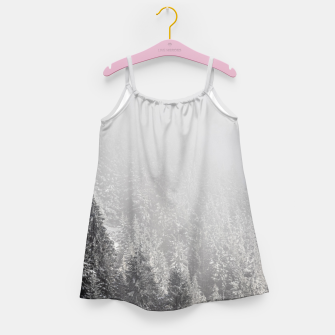 Miniature de image de Snowy spruce forest wrapped in fog Girl's dress, Live Heroes