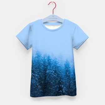 Thumbnail image of Fog over snow covered forest at lake Bohinj, Slovenia Kid's t-shirt, Live Heroes