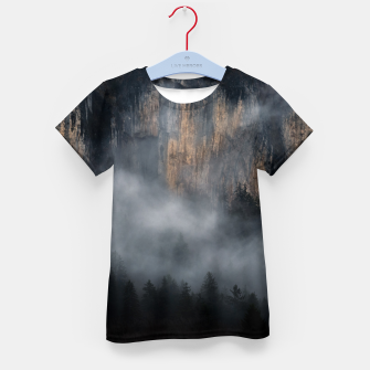 Thumbnail image of Mountains with fog through spruce forest Kid's t-shirt, Live Heroes