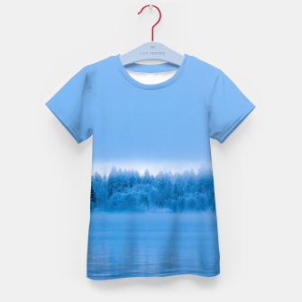 Thumbnail image of Mysterious fog over snowy lake Bohinj, Slovenia Kid's t-shirt, Live Heroes