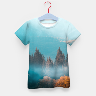 Thumbnail image of Shining light on foggy autumn forest Kid's t-shirt, Live Heroes
