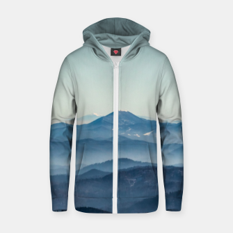 Thumbnail image of Fog layers, hills and mountain Zip up hoodie, Live Heroes