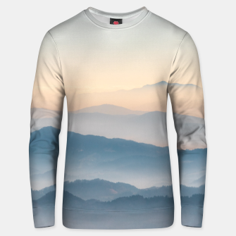 Thumbnail image of Fog layers, hills and mountains Unisex sweater, Live Heroes