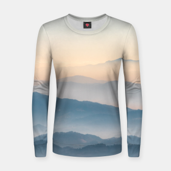 Thumbnail image of Fog layers, hills and mountains Women sweater, Live Heroes