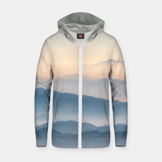 Thumbnail image of Fog layers, hills and mountains Zip up hoodie, Live Heroes