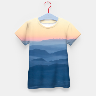 Thumbnail image of Magical sunset foggy layers Kid's t-shirt, Live Heroes