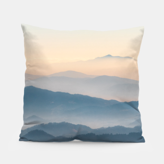 Thumbnail image of Fog layers, hills and mountains Pillow, Live Heroes