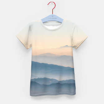 Thumbnail image of Fog layers, hills and mountains Kid's t-shirt, Live Heroes