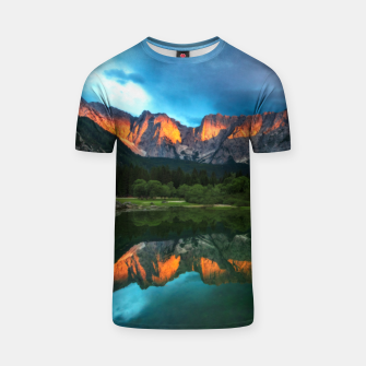 Thumbnail image of Burning sunset over the mountains at lake Fusine, Italy T-shirt, Live Heroes
