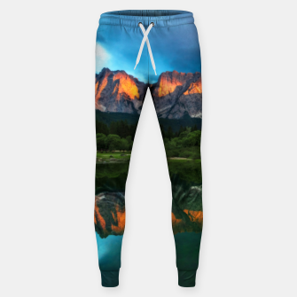 Thumbnail image of Burning sunset over the mountains at lake Fusine, Italy Sweatpants, Live Heroes