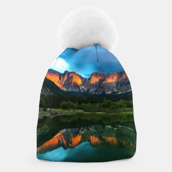 Thumbnail image of Burning sunset over the mountains at lake Fusine, Italy Beanie, Live Heroes