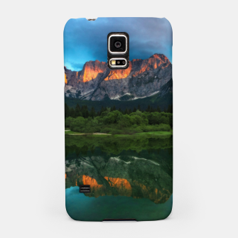 Thumbnail image of Burning sunset over the mountains at lake Fusine, Italy Samsung Case, Live Heroes