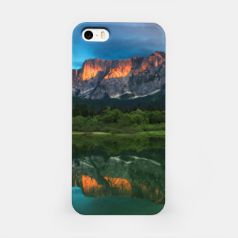 Thumbnail image of Burning sunset over the mountains at lake Fusine, Italy iPhone Case, Live Heroes