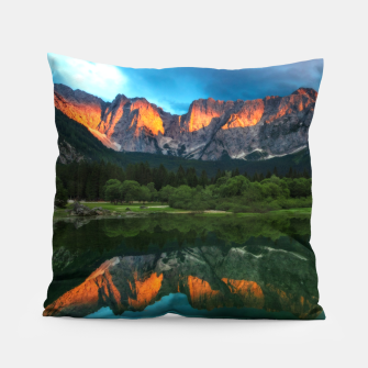 Thumbnail image of Burning sunset over the mountains at lake Fusine, Italy Pillow, Live Heroes