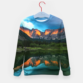 Thumbnail image of Burning sunset over the mountains at lake Fusine, Italy Kid's sweater, Live Heroes