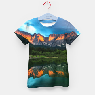 Thumbnail image of Burning sunset over the mountains at lake Fusine, Italy Kid's t-shirt, Live Heroes